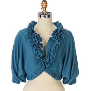 Anthropologie Knitted & Knotted Ruffled Cardigan